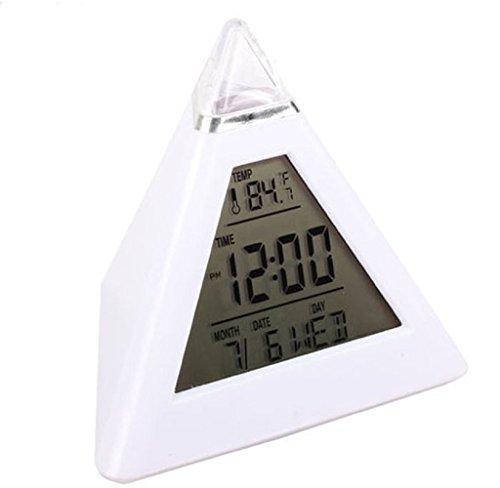 Rukiwa New Fashion Pyramid Temperature 7 Colors LED Change Backlight LED Alarm Clock