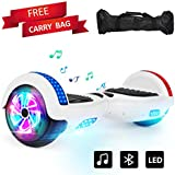 "Sea Eagle Hoverboard Two-Wheel Self Balancing Electric Scooter UL 2272 Certified 6.5"" with Bluetooth Speaker and LED Light Flash Lights Wheels (White)"