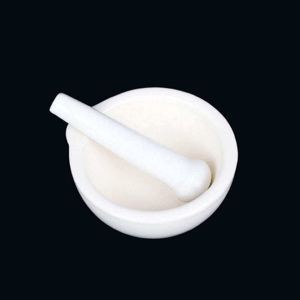 Ensemble mortier et pilon en c/éramique poli avec bec verseur pour broyer quacamole et cannelle Blanc
