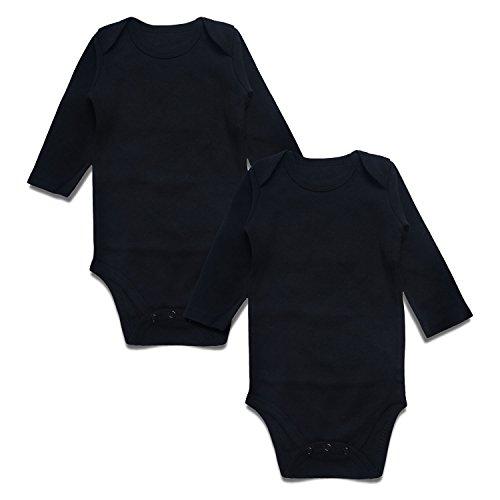 Baby Bodysuit Pack 2 Long Sleeve Onesie for Newborn Boys Girls Black 6-9 Months