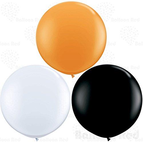 Homemade Black And White Costumes (36 Inch Giant Jumbo Latex Balloons (Premium Helium Quality), Pack of 6, Round Shape - Black + White + Orange)