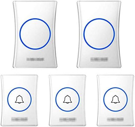 壁のプラグインコードレスドアチャイム、防水ドアベルキットのプラグ、1000フィートの範囲で最高のコードレスドアチャイム38チャイム4レベルボリューム(3つのプッシュボタンと2つのレシーバー),白