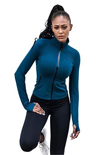 V LOVEFIT Women's Slim Fit Athletic Full Zip Workout Jacket Blue L