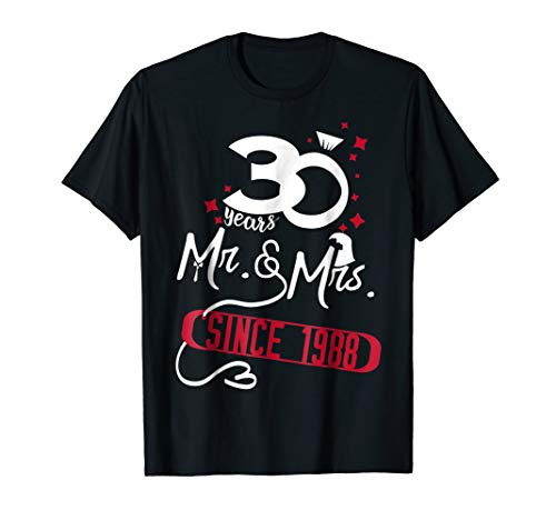 30th Wedding Anniversary Shirt - Since 1988 Gifts Parents