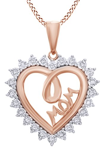 AFFY Natural Diamond Shadow Heart with MOM Pendant Necklace 14k Rose Gold Over Sterling Silver (1/10 Ct)