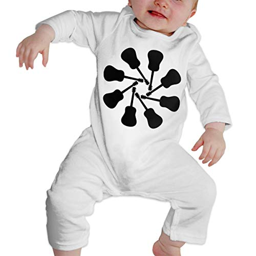 Just Born Baby Boys Girls Bodysuits Guitar Silhouette Clipart Old Cotton Long Sleeve One-Piece Coverall ()