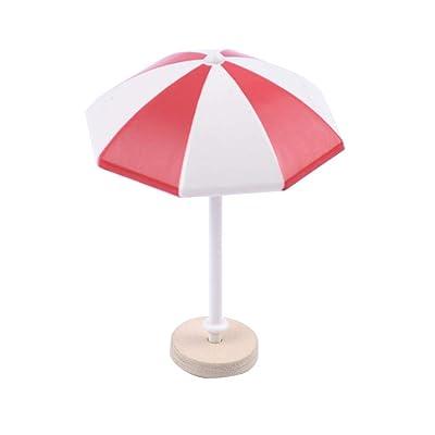 FRECI 1/12 Dollhouse Beach Umbrella Plastic Deck Chair Umbrella Beach Accessories Aquarium Terrariums Decoration Cake Ornaments - Red M : Industrial & Scientific