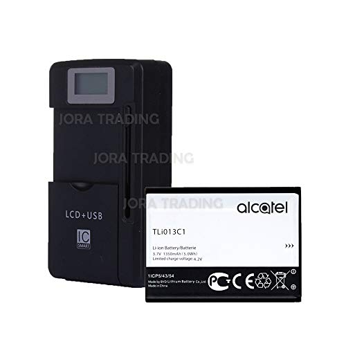 OEM Standard Battery TLi013C1 for Alcatel One Touch Go Flip w/Universal LCD Battery Charger + USB-Port (Adjustable Dock) in Non-Retail Packaging ()