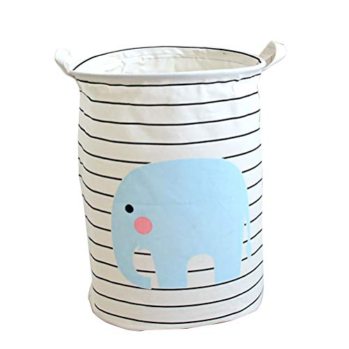 Vosarea Laundry Basket Elephant Opening Cotton and Linen Waterproof Storage by Vosarea