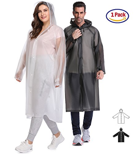 EnergeticSky Multifunctional Rain Poncho,EVA Portable Raincoat with Hoods and Sleeves,No Chemical Smell,Reusable & Thicken and Perfect for Hiking,Disneyland,or Camping.(Multi-Size) (White, XXXL)