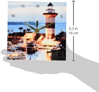 3dRose dc_61725_1 Harbor Town Lighthouse at Hilton Head Island at Dusk Desk Clock, 6 by 6-Inch