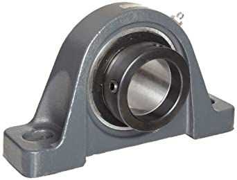 "Browning VPE-215 Pillow Block Ball Bearing, 2 Bolt, Eccentric Lock, Contact and Flinger Seal, Cast Iron, Inch, 15/16"" Bore, 1-7/16"" Base To Center Height"