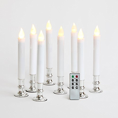White Flameless LED Taper Candles with Silver Removable Base Holders, Remote & Batteries Included - Set of 8