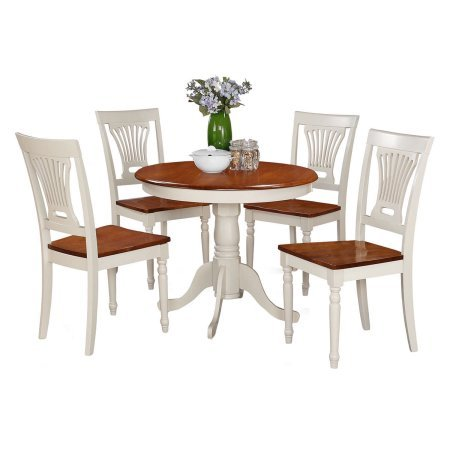 5 Piece Wood Bistro Set Round Table and Microfiber Seat Chairs, Durable Base, Comfortable Seat, Ideal for Everyday Meals, Bistro, Kitchen, Home Furniture, White Finish by ProGiga Select