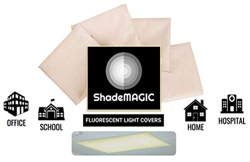 Light Covers For Classroom (ShadeMAGIC Fluorescent Light Filter Covers (Beige) - Diffuser Pack; Eliminate Harsh Glare That Causes Eyestrain and Head Strain The The Classroom or at Office.)