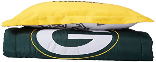 NFL Green Bay Packers Full Applique Comforter and Sham Set, 76 x 86-Inch Green Bay Packers Bedding