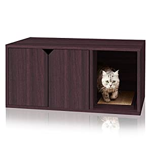 Way Basics Eco Friendly Modern Cat Litter Box Furniture Enclosure, Black Wood Grain 22
