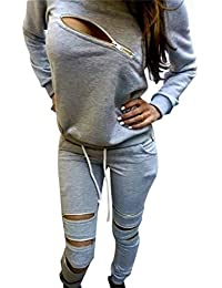 Sexy Women's 2 Pieces Long Sleeve Sweatshirt and Pants Tracksuit Outfits