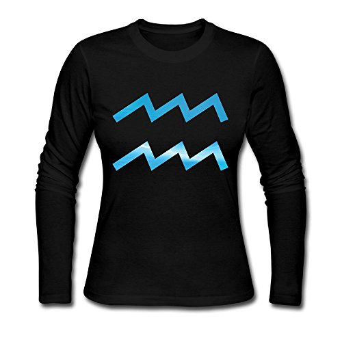 QTHOO Women's O Neck Aquarius Symbol Long Sleeve T Shirt