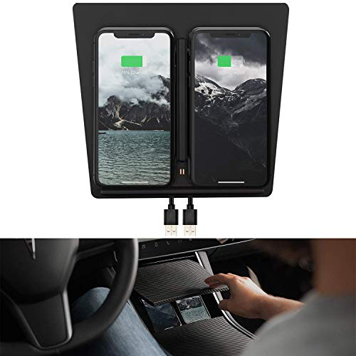 ABREOME Tesla Model 3 Car Center Console Wireless Phone Charger Pad Dual QI  Wireless Charging Charger Panel with USB Splitter Cable for Latest