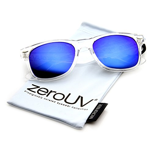 zeroUV ZV-8025h Retro Matte Black Horned Rim Flash Colored Lens Sunglasses, Clear, - Sunglasses Amazon Clear