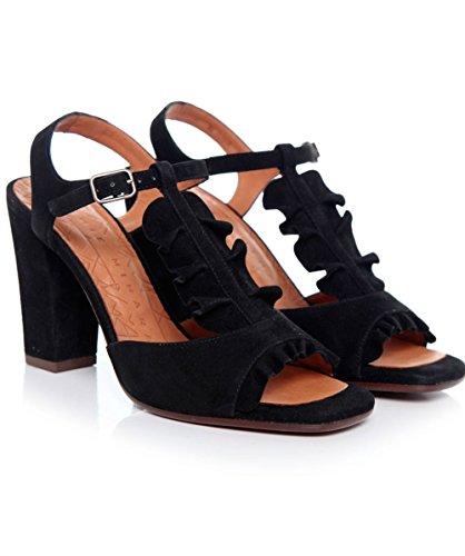 Chie Mihara Mujeres Aubo volante t talones Negro Negro