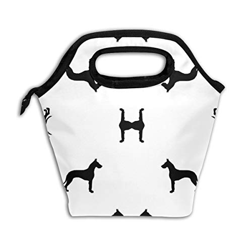 - Great Dane Silhouette Dog Reusable Insulated Lunch Bag Cooler Tote Box with Zipper Closure for Woman Man Work Pinic Or Travel