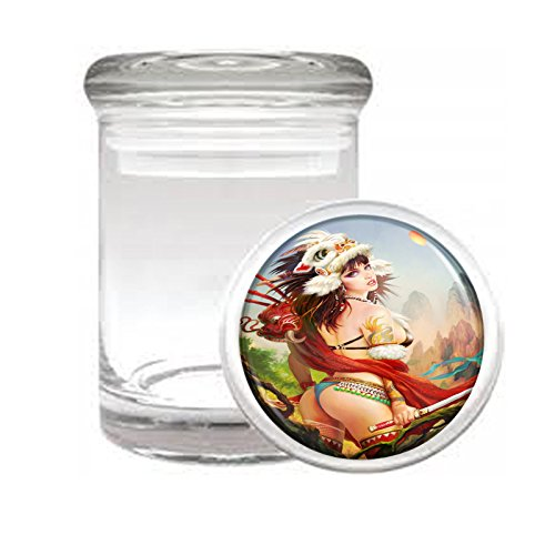 (Medical Glass Stash Jar Sexy Pirate Pin Up Girl S18 Air Tight Lid 3