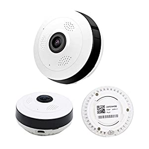 iHome Fusion Wireless Security Camera 1080P 2.0MP 360° Panoramic Wide Angle View Wireless Camera, Two-Way Audio Intercom, Night Vision, Motion Detection Ip Camera + Free 124GB Micro SD Card (White)