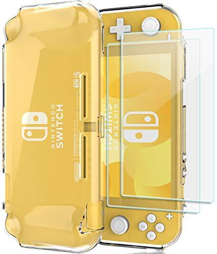 ProCase Nintendo Switch Lite Rubber Case, Slim Soft Shockproof TPU Cover Anti-Scratch Protective Case for Nintendo Switch Lite 2019 with 2 Pack Tempered Glass Screen Protectors -Clear