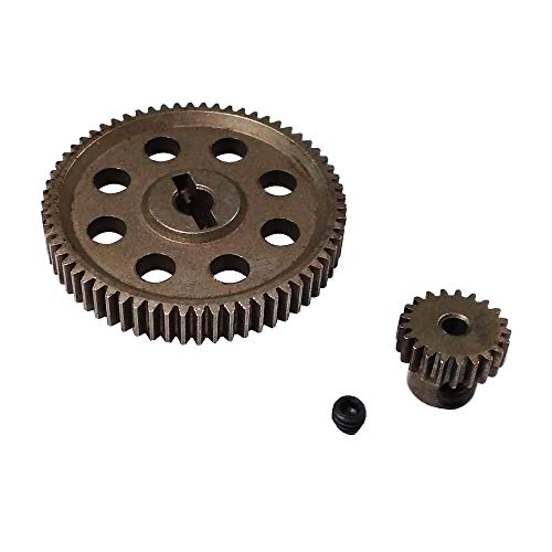 11184 Steel Metal Spur Diff Differential Main Gear 64T & 11181 Motor Gear 21T RC Replacement Parts for Redcat Volcano EPX HSP 1/10 Monster Truck Brontosaurus 94111