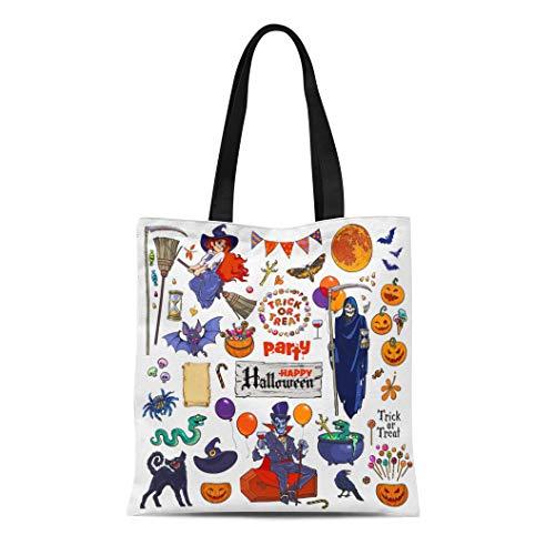 Semtomn Canvas Tote Bag Shoulder Bags Big of Halloween Cartoon Characters and Death Grim Reaper Women's Handle Shoulder Tote Shopper Handbag ()