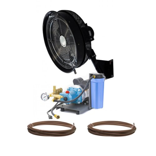 HIGH PRESSURE - 18'' Oscillating Misting Fan (1) Wall Mount w/unenclosed pump Mist Kit by Advanced Systems