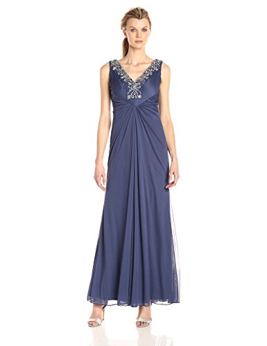 - Alex Evenings Women's Long Sleeveless A-line Dress with Beaded Neckline, Violet, 12