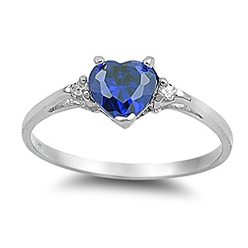 - Sac Silver  Sterling Silver Blue Simulated Sapphire  Heart Promise Ring, 6