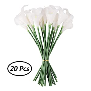 CHICTRY 20Pcs Artificial Calla Lily Flowes Real Touch PU White Fake Blooming Flowers for Bride Wedding Bouquets Home Decorations 37