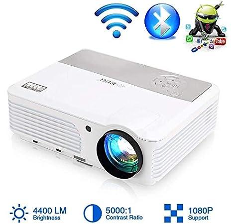 LED WiFi Proyector Bluetooth Teatro en casa HD 1080P Soporte Inalámbrico Proyector de Video Android 4400Lumen WiFi Pantalla LCD TV para Juegos Al Aire Libre con Altavoz 2 HDMI 2 USB VGA