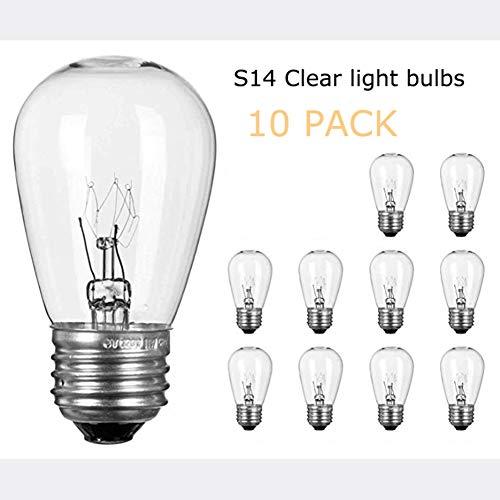 S14 Light Bulbs for String Lights -11 Watt E26 Medium Candelabra Screw Base S14 Warm Replacement Clear Glass Bulbs for…