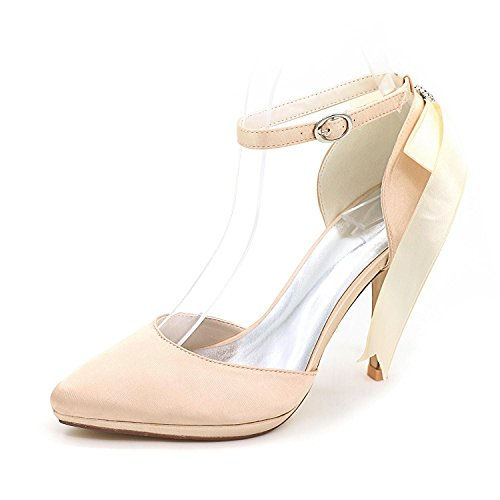 L@YC Female Wedding Shoes Ribbon # 0255-28 Platform Close Toe/Silk Round Top Wedding Custom Champagne