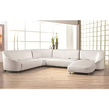Incredible Amazon Com My Aashis Modern Beige Leather Sectional Sofa Caraccident5 Cool Chair Designs And Ideas Caraccident5Info