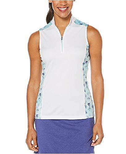 (PGA TOUR Women's Colorblocked Half-Zip Golf Polo Shirt)