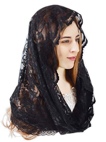 Pamor Infinity Floral Veils Scarf Veil Head Covering Latin Mass Lace Mantilla with Free Hairclip - Scarf Veil