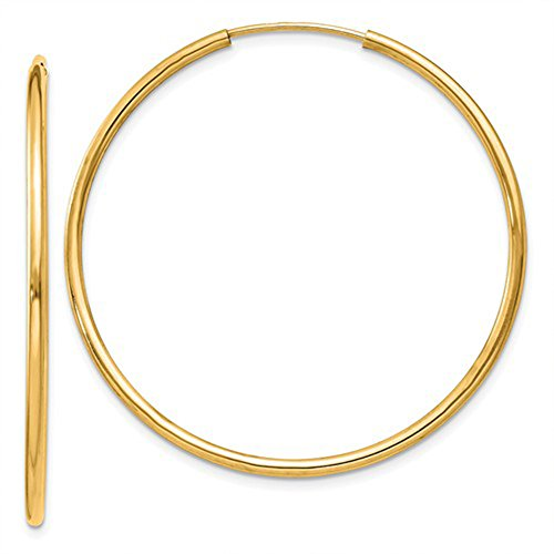 14K Yellow Gold Continuous Endless Hoop Earrings, (1.5mm Tube)
