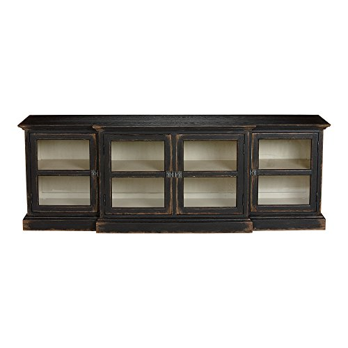 Cabinet Black Media Antique (Ethan Allen Farragut Media Cabinet, Rustic Black White Int)