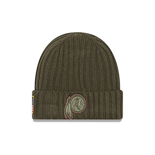 New Era Men's Men's Redskins 2017 Salute to Service Cuffed Knit Hat Olive Size One Size ()