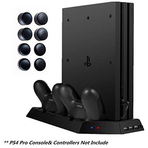 DOUBI Vertical Stand for PS4 Pro - Controller Charging Station with Cooling Fan for Sony Playstation 4 Pro Console