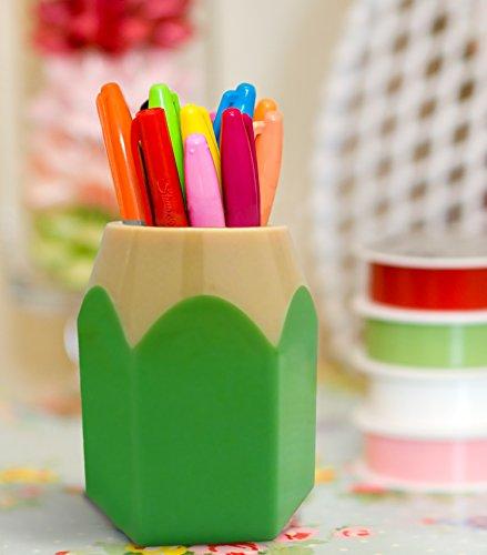 Supplies Cup Organizer, Adorable Pencil Tip Design Pen & Pencil Cup Holder, Green Desk Organizer. By Mega ()
