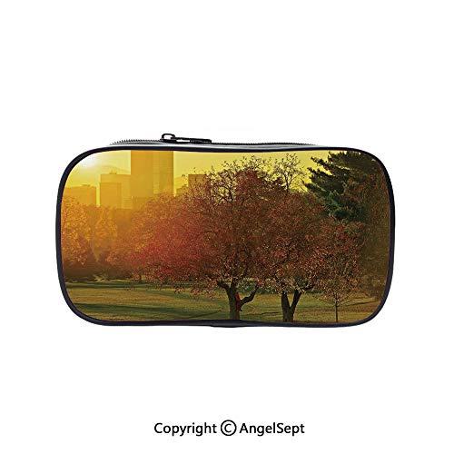(Pen Case Office College School Large Storage,Sunset Over The City Park Colorado Skyline Autumn Theme Scenic Picture Fern Green Dark Orange 5.1inches,Box Organizer New)