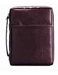 Burgundy Embossed Cross with Front Pocket X-Large Leather Look Bible Cover with Handle