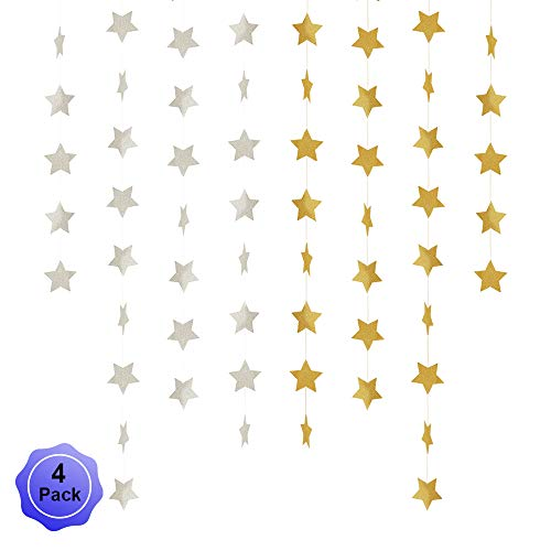 (Star Banner Garland Decorations Stars Paper Birthday Party Banner Twinkle Hanging Bunting Banner Gold Glitter Sparkling Garland for Wedding Christmas Halloween Photo Booth Props Golden Silver 4 Pack)